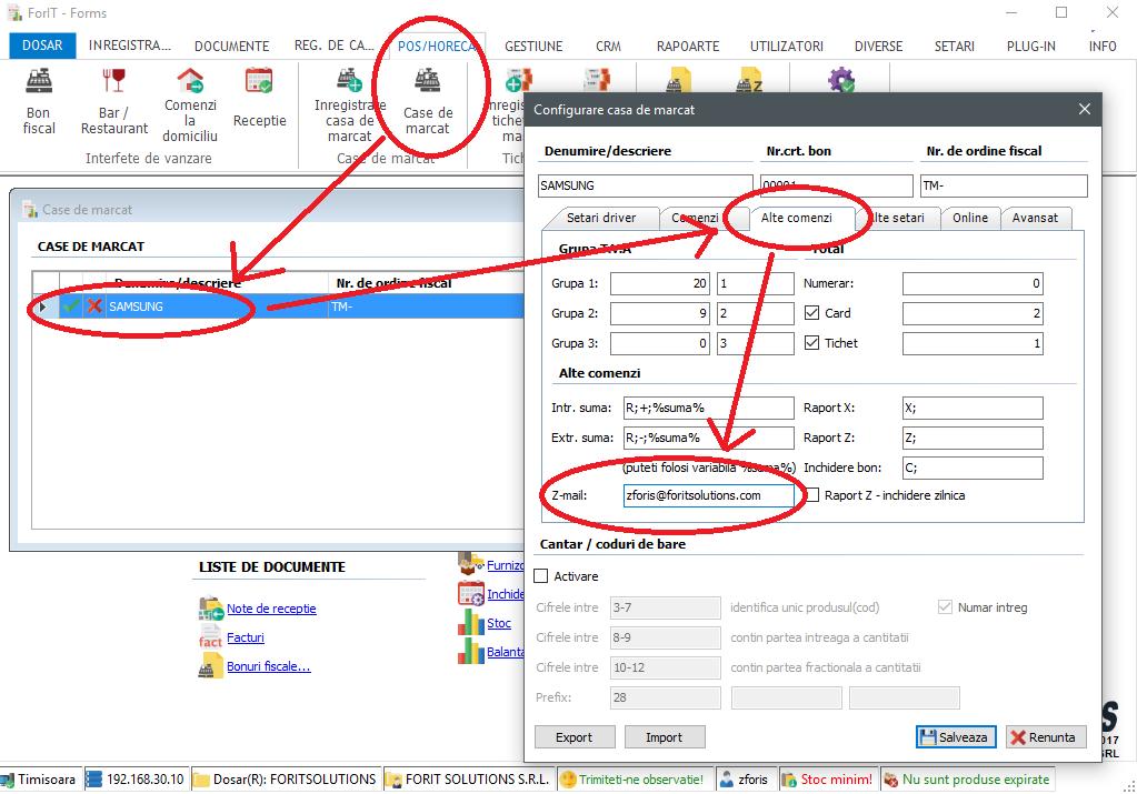 Configurare trimiterii automate a rapoartelor Z prin e-mail