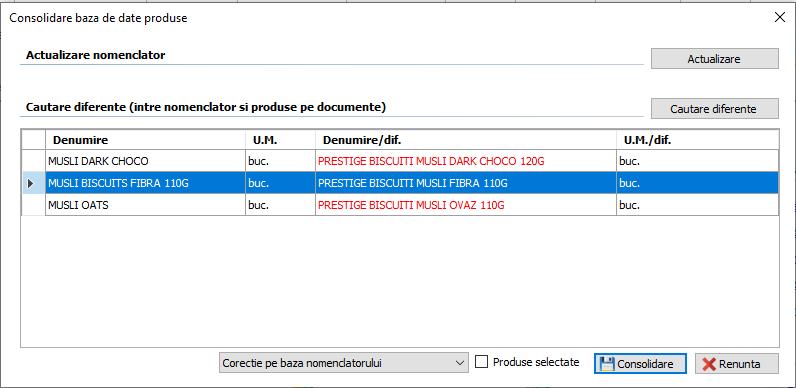 Consolidare baza de date de produse
